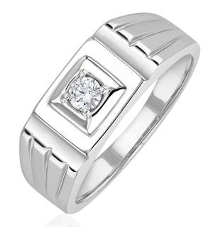 Mens Solitaire Signet Lab Diamond Ring 0.15ct in 925 Silver