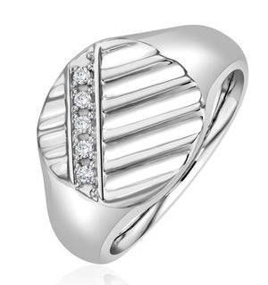 Mens Lab Diamond Signet Ring 0.07ct H/Si in 925 Silver