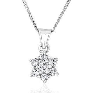 Lab Diamond Star Cluster Pendant Necklace 0.25ct H/Si 9K White Gold