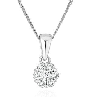 Lab Diamond Cluster Pendant Necklace 0.25ct H/Si in 9K White Gold