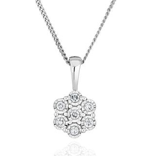 Lab Diamond Cluster Pendant Necklace 0.10ct H/Si in 9K White Gold
