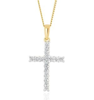 Lab Diamond Cross Pendant Necklace Claw Set 0.25ct H/Si in 9K Gold