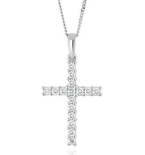 Lab Diamond Cross Pendant Necklace Claw Set 0.25ct H/Si 9K White Gold