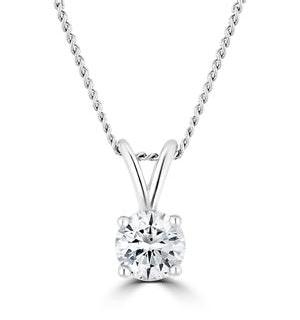 Lab Diamond Solitaire Necklace Pendant 0.25ct H/Si 9K White Gold