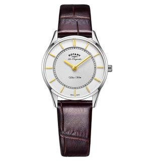 Rotary Les Originales Ultra Slim Brown Leather Swiss Ladies Watch