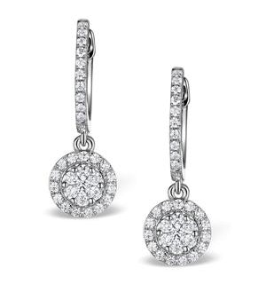 Halo Diamond Drop Earrings - Florence - 0.46ct - in 18K White Gold