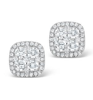 Diamond Earrings Carre 1.25ct H/Si in 18K White Gold - P3482W