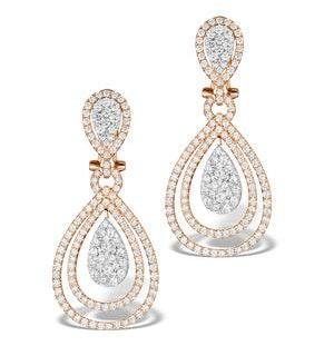 Diamond Halo Drop Earrings 6.66ct in 18K Rose Gold P3491
