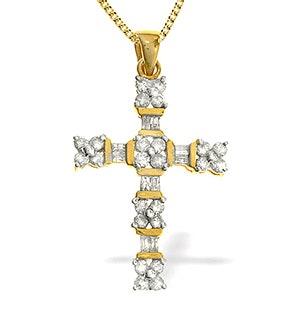 9K Gold Diamond Cross Pendant (0.75ct)
