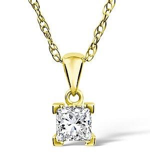 18K GOLD PRINCESS DIAMOND PENDANT 0.25CT H/SI