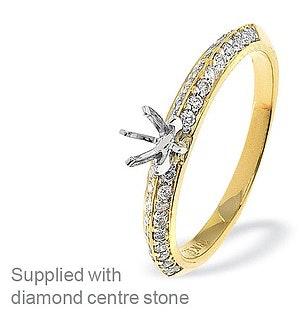 18K Ring Gold Diamond Set Mount (0.26ct)