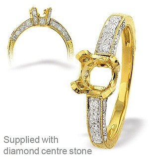 18K Gold Rubover Channel Set Ring Mount (0.13ct)