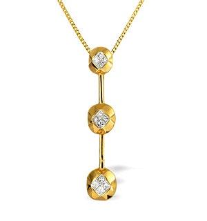 18K Gold Princess Cut Diamond Bar Pendant (0.31ct)