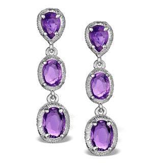Amethyst Drop Earrings in Sterling Silver - UG3245