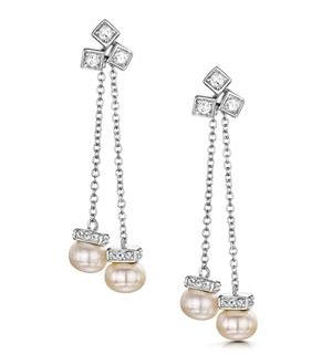 Pearl White Topaz Triple Square Drop Tesoro Earrings in 925 Silver