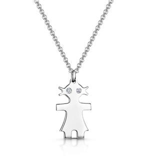 Allura Collection Girl Design Diamond Necklace 0.02ct in 925 Silver