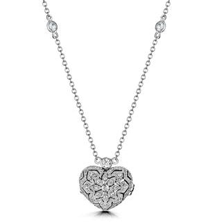 Tesoro White Topaz Vintage Heart Locket Necklace in 925 Silver