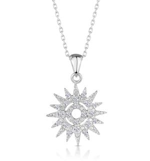 Silver Starry Sun Necklace with White Topaz - Tesoro Collection