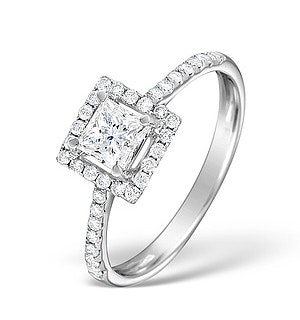 Halo Engagement Ring Ella 18K Gold Diamond Princess Cut 0.82ct SI