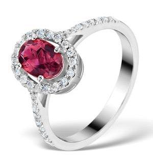 Pink Tourmaline 0.50CT and Diamond Halo 18K White Gold Ring UT42
