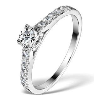 Sidestone Lab Diamond Ring Adelle 0.85ct H/Si1 18K White Gold