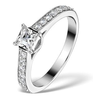 Sidestone Engagement Ring Seraphina 0.95ct Vs2 Princess Diamond 18KW
