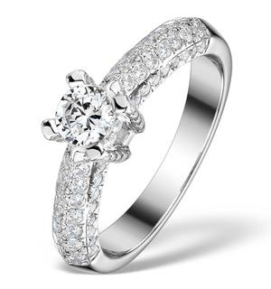 Sidestone Lab Diamond Ring Nova 1.20ct H/Si1 Pave 18K White Gold