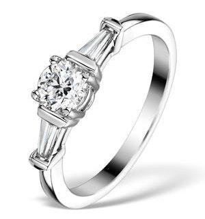 Sidestone Engagement Ring Vana 0.80ct SI2 Baguette Diamonds 18KW Gold