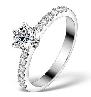 Sidestone Lab Diamond Ring Talia 0.85ct H/Si1 18k White Gold