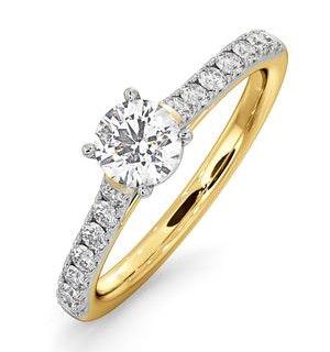 Natalia Lab Diamond Engagement Side Stone Ring 18K Gold 0.91CT G/SI1