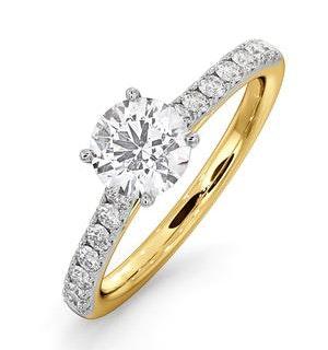 Natalia GIA Diamond Engagement Side Stone Ring 18K Gold 1.15CT G/VS1