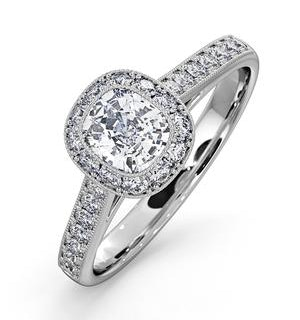 Danielle Lab Diamond Engagement Side Stone Ring in 18KW Gold 1CT G/SI1
