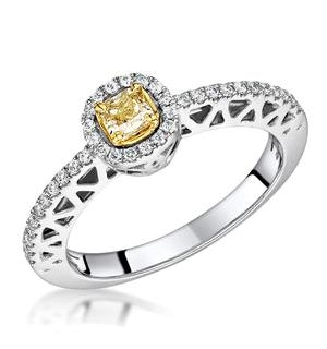 Adrianna Yellow Diamond Halo Engagement Ring 0.46ct in 18K White Gold