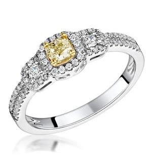 Isabella Yellow Diamond Halo Engagement Ring 0.53ct in 18K White Gold