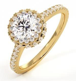 Valerie GIA Diamond Halo Engagement Ring in 18K Gold 1.40ct G/VS1