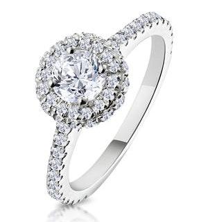 Valerie GIA Diamond Halo Engagement Ring 18K White Gold 1.10ct G/SI2
