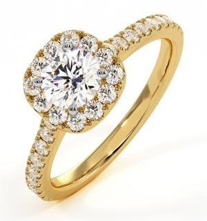 Elizabeth GIA Diamond Halo Engagement Ring in 18K Gold 1.00ct G/SI2