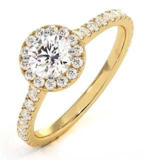 Reina Lab Diamond Halo Engagement Ring in 18K Gold 1.10ct G/SI1