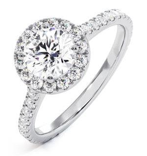 Reina GIA Diamond Halo Engagement Ring in Platinum 1.40ct G/VS2