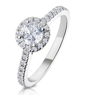 Reina GIA Diamond Halo Engagement Ring in 18K White Gold 1.10ct G/SI2