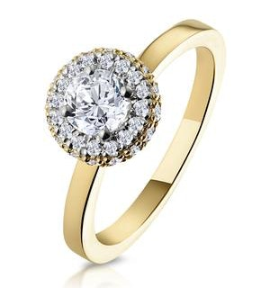 Eleanor GIA Diamond Halo Engagement Ring in 18K Gold 0.65ct G/SI2