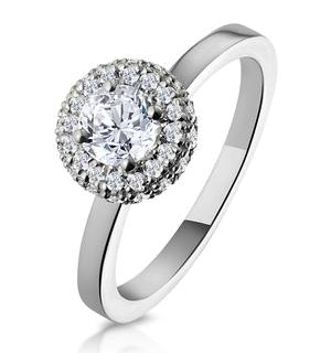Eleanor GIA Diamond Halo Engagement Ring 18K White Gold 0.65ct G/SI2