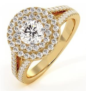 Camilla GIA Diamond Halo Engagement Ring in 18K Gold 1.15ct G/SI2