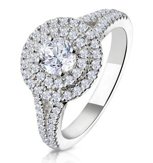 Camilla GIA Diamond Halo Engagement Ring 18K White Gold 1.15ct G/SI2