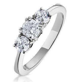 3 Stone Meghan Diamond Engagement Ring 1CT G/SI1 in 18K White Gold