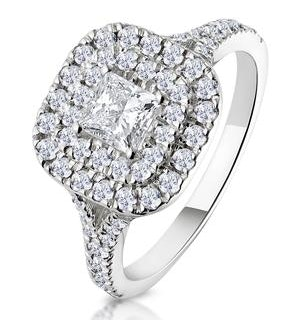 Cleopatra GIA Diamond Halo Engagement Ring 18K White Gold 1.20ct G/SI2