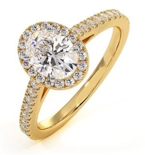 Georgina GIA Oval Diamond Halo Engagement Ring 18K Gold 1.30ct G/Vs2