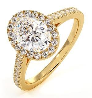 Georgina GIA Oval Diamond Halo Engagement Ring 18K Gold 1.55ct G/VS1