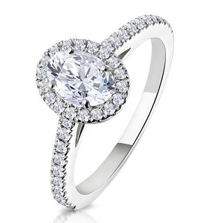 Georgina GIA Oval Diamond Halo Engagement Ring 18KW Gold 1.30ct G/Vs2