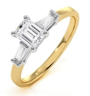 Genevieve GIA Emerald Cut Diamond Ring in 18K Gold 0.70ct G/SI2